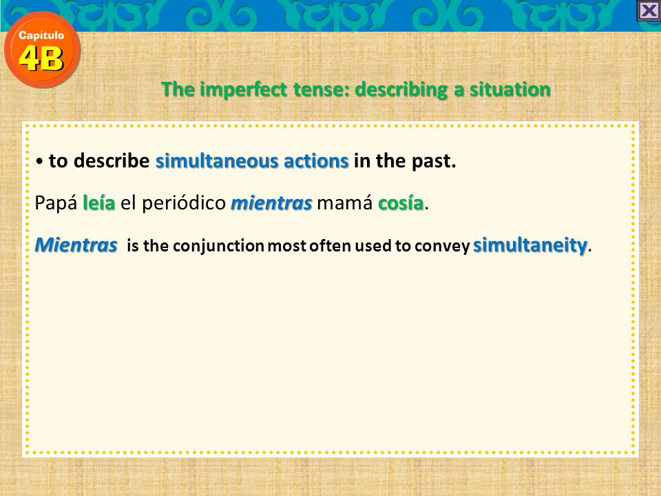 simultaneous actions to describe simultaneous actions in the past.