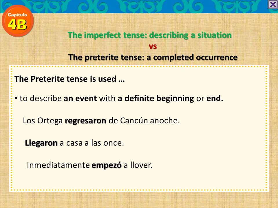 The imperfect tense: describing a situation vs The preterite tense: a completed occurrence The Preterite tense is used … to describe an event with a d