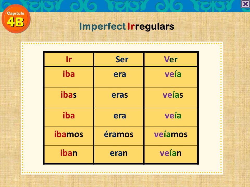 ARER/IR yo -aba -ía tú -abas -ías él, ella Ud. -aba -ía nosotros nosotras -ábamos-íamos ellos, ellas Uds. -aban-ían Imperfect regular endings