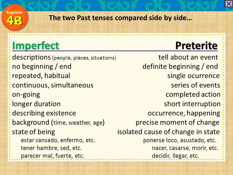 Preterite endings ARER/IR IRREGULARS -é -í -e -aste -iste -ó-ó -ió -o -amos-imos -aron-ieron REMEMBER! preterite IRREGULARS have IRREGULAR stems!