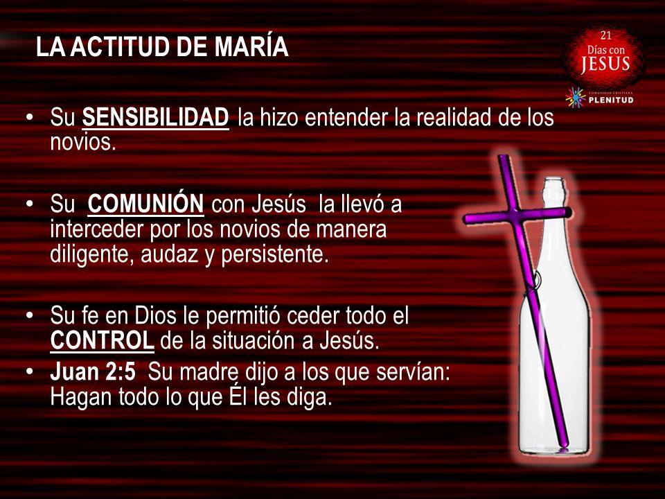 LA ACTITUD DE MARÍA Su SENSIBILIDAD la hizo entender la realidad de los novios. Su COMUNIÓN con Jesús la llevó a interceder por los novios de manera d