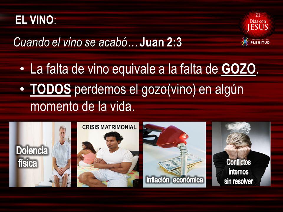 EL VINO : La falta de vino equivale a la falta de GOZO. TODOS perdemos el gozo(vino) en algún momento de la vida. Cuando el vino se acabó… Juan 2:3