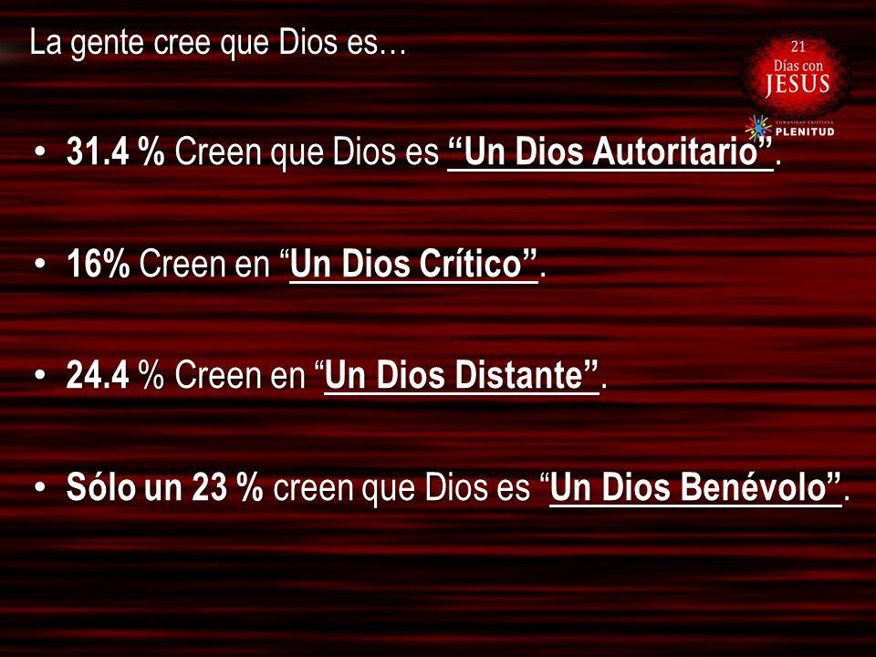 La gente cree que Dios es… 31.4 % Creen que Dios es Un Dios Autoritario. 31.4 % Creen que Dios es Un Dios Autoritario. 16% Creen en Un Dios Crítico. 1