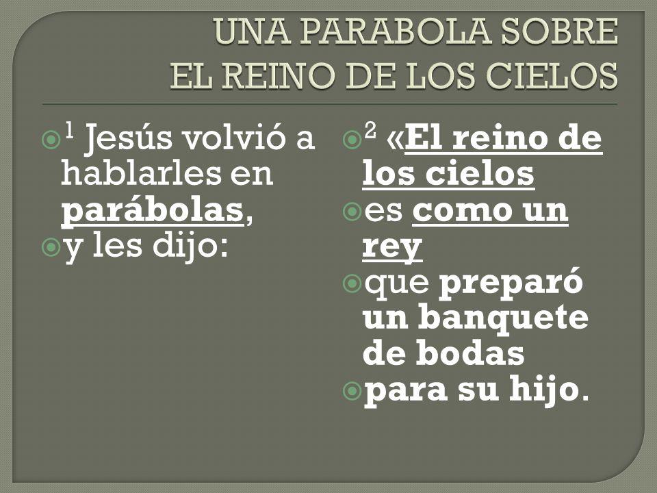 1 Jesús volvió a hablarles en parábolas, y les dijo: 2 «El reino de los cielos es como un rey que preparó un banquete de bodas para su hijo.
