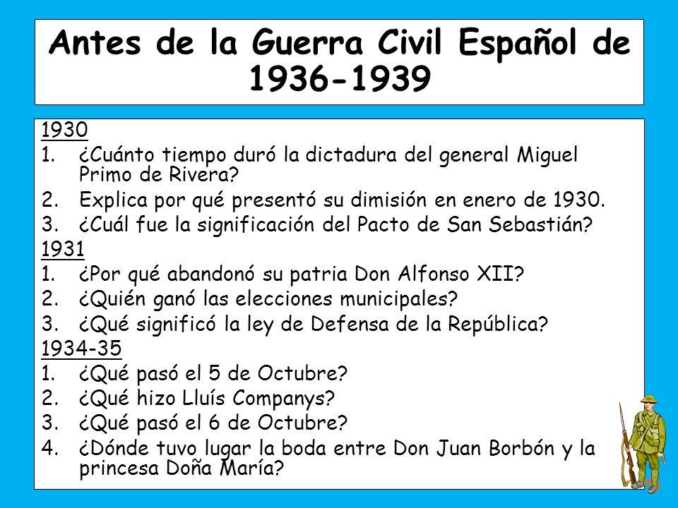 1930 1.¿Cuánto tiempo duró la dictadura del general Miguel Primo de Rivera.