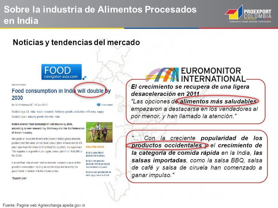 Sobre la industria de Alimentos Procesados en India El crecimiento se recupera de una ligera desaceleración en 2011