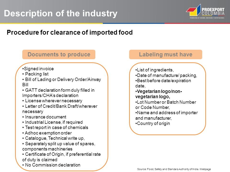 Description of the industry Procedure for clearance of imported food Documents to produce Signed invoice Packing list Bill of Lading or Delivery Order