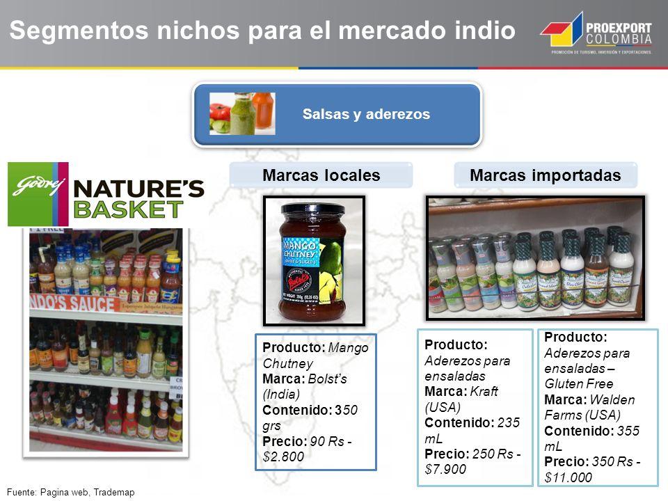 Fuente: Pagina web, Trademap Salsas y aderezos Segmentos nichos para el mercado indio Marcas localesMarcas importadas Producto: Mango Chutney Marca: B