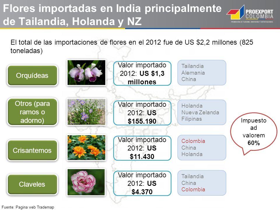 Flores importadas en India principalmente de Tailandia, Holanda y NZ Fuente: Pagina web Trademap El total de las importaciones de flores en el 2012 fu