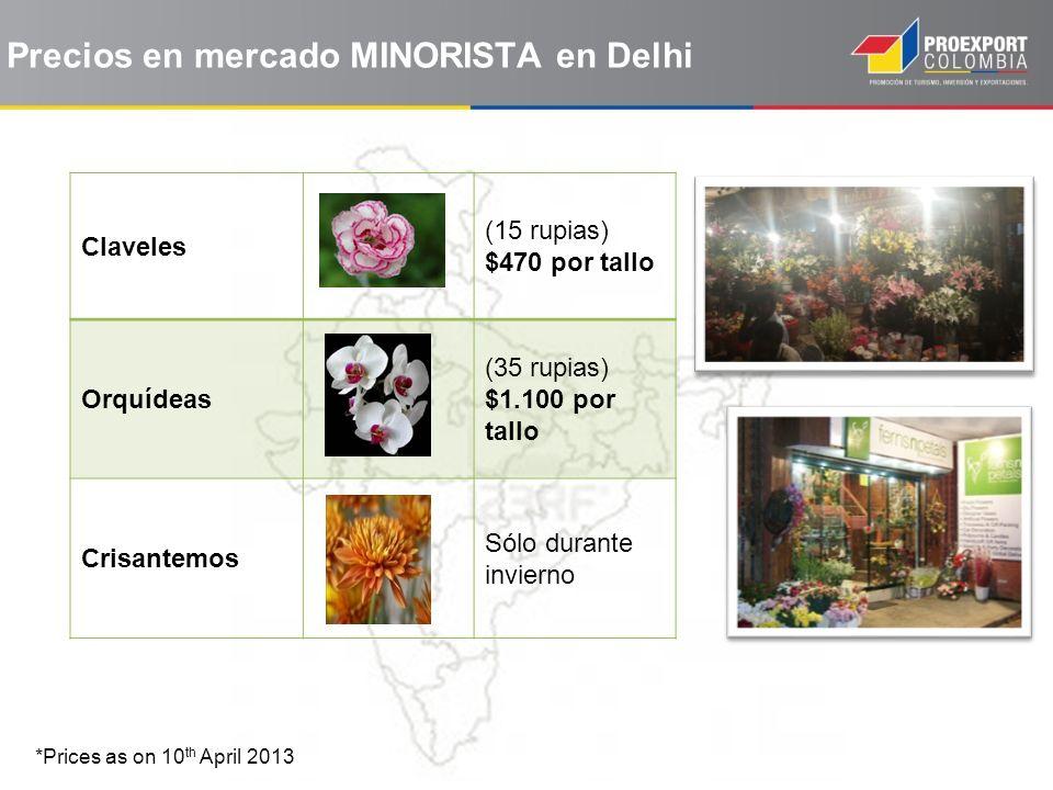 Claveles (15 rupias) $470 por tallo Orquídeas (35 rupias) $1.100 por tallo Crisantemos Sólo durante invierno *Prices as on 10 th April 2013 Precios en