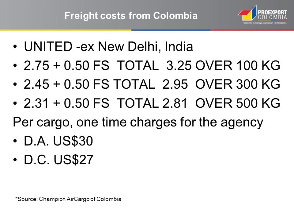 Freight costs from Colombia UNITED -ex New Delhi, India 2.75 + 0.50 FS TOTAL 3.25 OVER 100 KG 2.45 + 0.50 FS TOTAL 2.95 OVER 300 KG 2.31 + 0.50 FS TOT