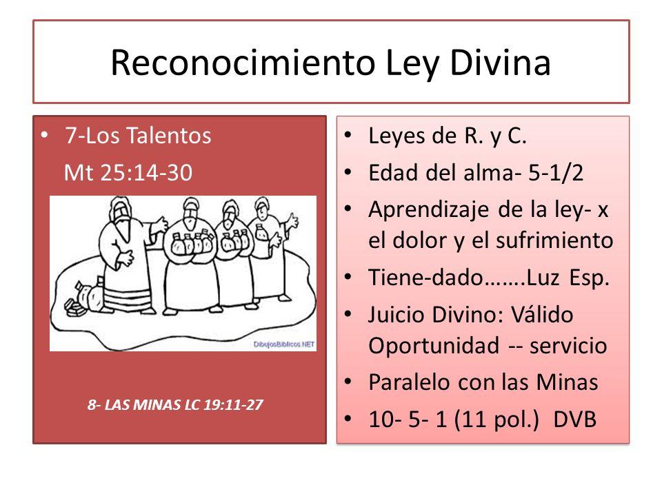 Reconocimiento Ley Divina 7-Los Talentos Mt 25:14-30 Leyes de R. y C. Edad del alma- 5-1/2 Aprendizaje de la ley- x el dolor y el sufrimiento Tiene-da