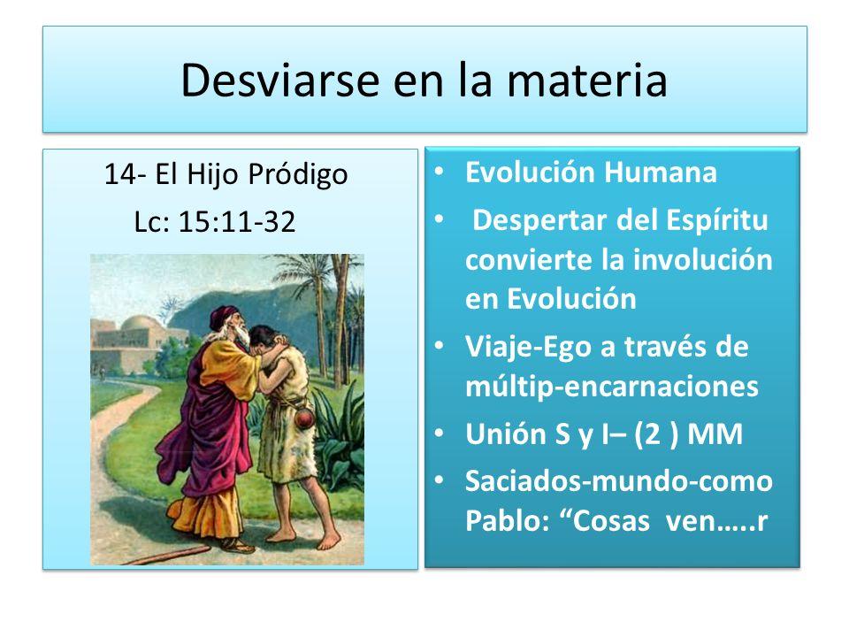 Desviarse en la materia 14- El Hijo Pródigo Lc: 15:11-32 14- El Hijo Pródigo Lc: 15:11-32 Evolución Humana Despertar del Espíritu convierte la involuc