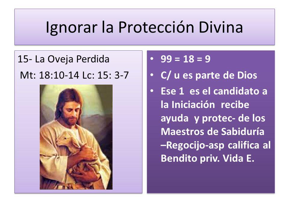 Ignorar la Protección Divina 15- La Oveja Perdida Mt: 18:10-14 Lc: 15: 3-7 15- La Oveja Perdida Mt: 18:10-14 Lc: 15: 3-7 99 = 18 = 9 C/ u es parte de