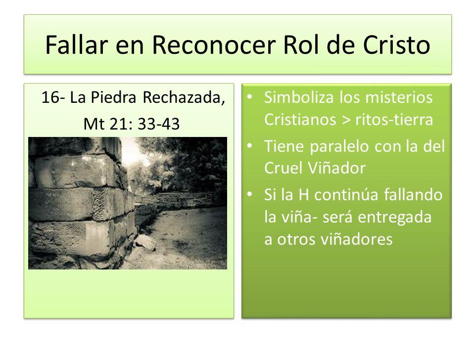 Fallar en Reconocer Rol de Cristo 16- La Piedra Rechazada, Mt 21: 33-43 La La Piedra Rechazada Piedra Rechazada 16- La Piedra Rechazada, Mt 21: 33-43
