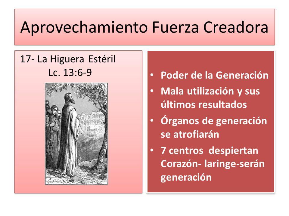 Aprovechamiento Fuerza Creadora 17- La Higuera Estéril Lc. 13:6-9 Poder de la Generación Mala utilización y sus últimos resultados Órganos de generaci