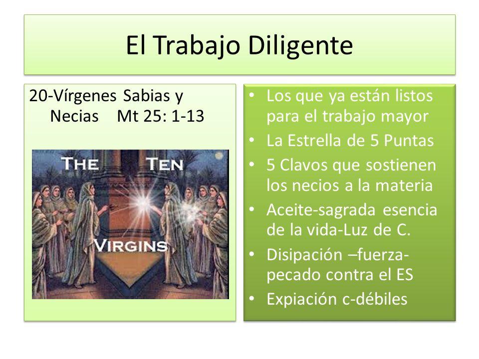 El Trabajo Diligente 20-Vírgenes Sabias y Necias Mt 25: 1-13 Los que ya están listos para el trabajo mayor La Estrella de 5 Puntas 5 Clavos que sostie