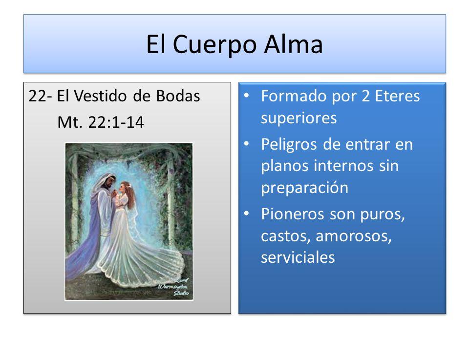 El Cuerpo Alma 22- El Vestido de Bodas Mt. 22:1-14 22- El Vestido de Bodas Mt. 22:1-14 Formado por 2 Eteres superiores Peligros de entrar en planos in