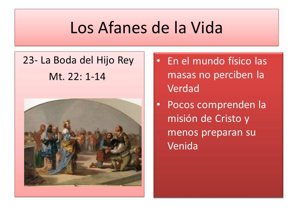 Los Afanes de la Vida 23- La Boda del Hijo Rey Mt. 22: 1-14 23- La Boda del Hijo Rey Mt. 22: 1-14 En el mundo físico las masas no perciben la Verdad P