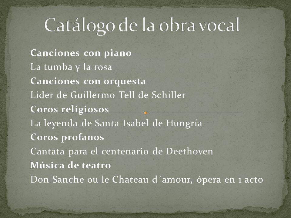 Canciones con piano La tumba y la rosa Canciones con orquesta Lider de Guillermo Tell de Schiller Coros religiosos La leyenda de Santa Isabel de Hungr