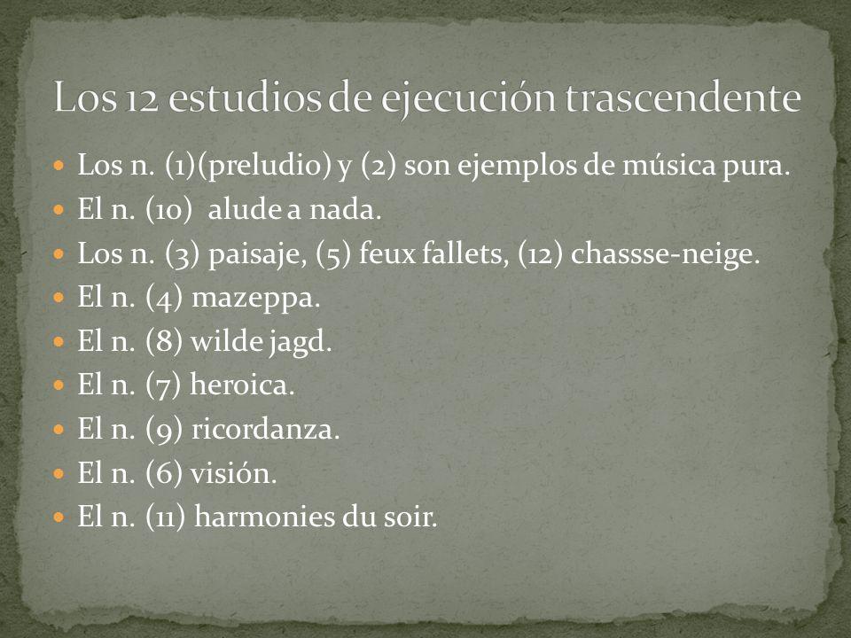 Los n. (1)(preludio) y (2) son ejemplos de música pura. El n. (10) alude a nada. Los n. (3) paisaje, (5) feux fallets, (12) chassse-neige. El n. (4) m