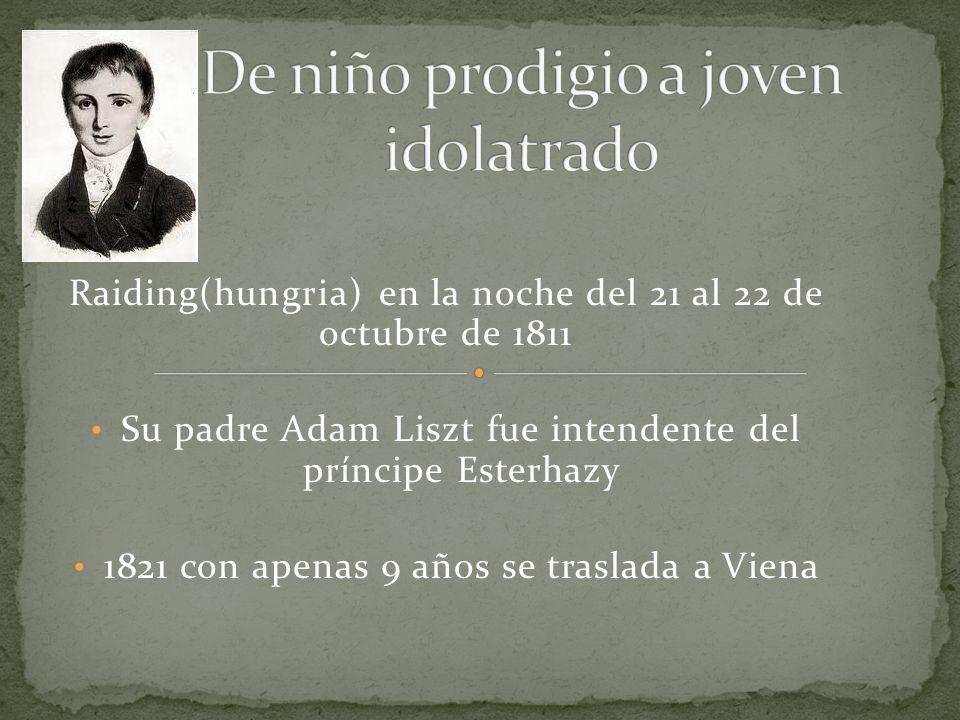 Raiding(hungria) en la noche del 21 al 22 de octubre de 1811 Su padre Adam Liszt fue intendente del príncipe Esterhazy 1821 con apenas 9 años se traslada a Viena