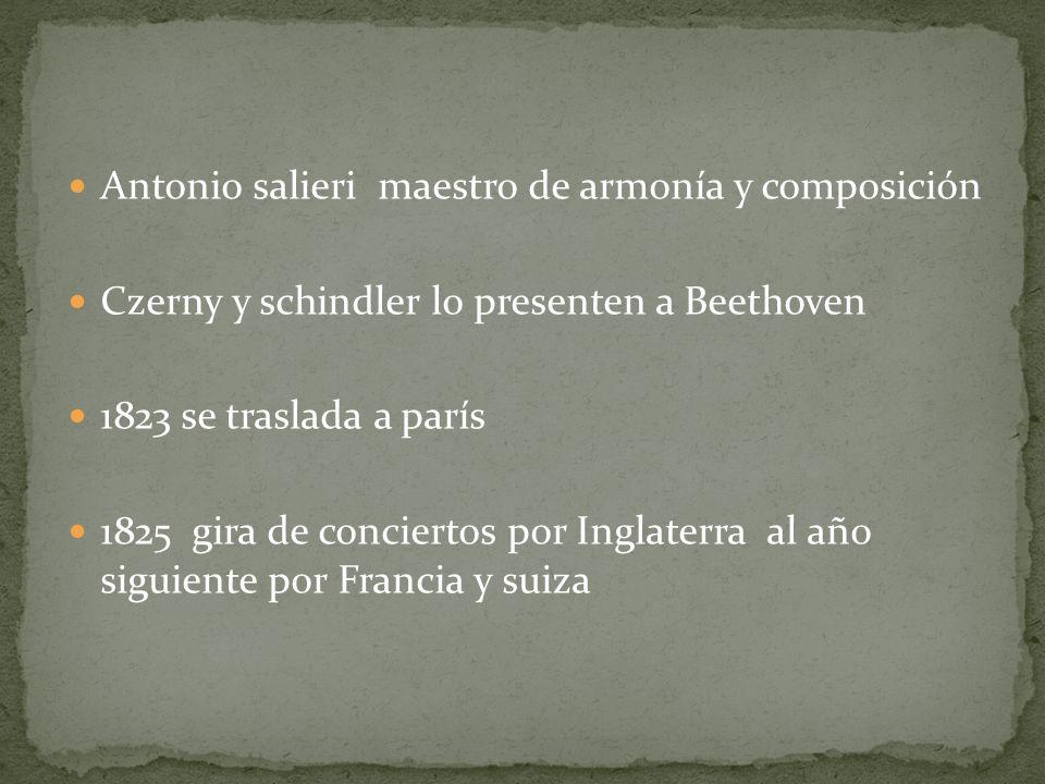 Antonio salieri maestro de armonía y composición Czerny y schindler lo presenten a Beethoven 1823 se traslada a parís 1825 gira de conciertos por Ingl