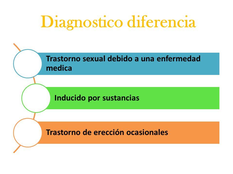 Diagnostico diferencia Trastorno sexual debido a una enfermedad medica Inducido por sustancias Trastorno de erección ocasionales