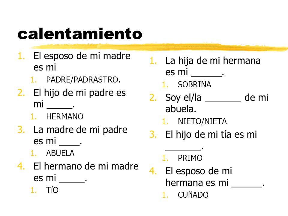 calentamiento 1. El esposo de mi madre es mi 1.PADRE/PADRASTRO. 2. El hijo de mi padre es mi _____. 1.HERMANO 3. La madre de mi padre es mi ____. 1.AB
