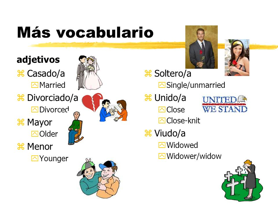 Más vocabulario adjetivos z Casado/a yMarried z Divorciado/a yDivorced z Mayor yOlder z Menor yYounger z Soltero/a ySingle/unmarried z Unido/a yClose