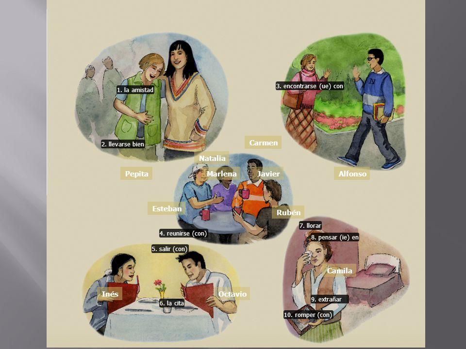 1. la amistad 2. llevarse bien 3. encontrarse (ue) con 5. salir (con) 6. la cita 7. llorar 8. pensar (ie) en 10. romper (con) 9. extrañar 4. reunirse