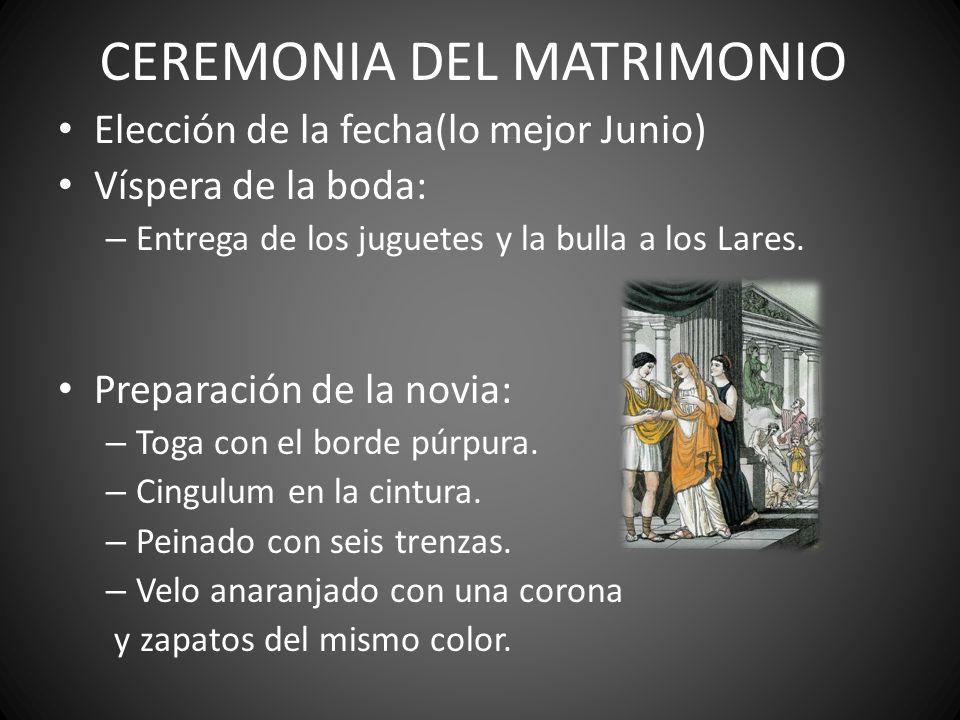 CEREMONIA DEL MATRIMONIO Elección de la fecha(lo mejor Junio) Víspera de la boda: – Entrega de los juguetes y la bulla a los Lares. Preparación de la