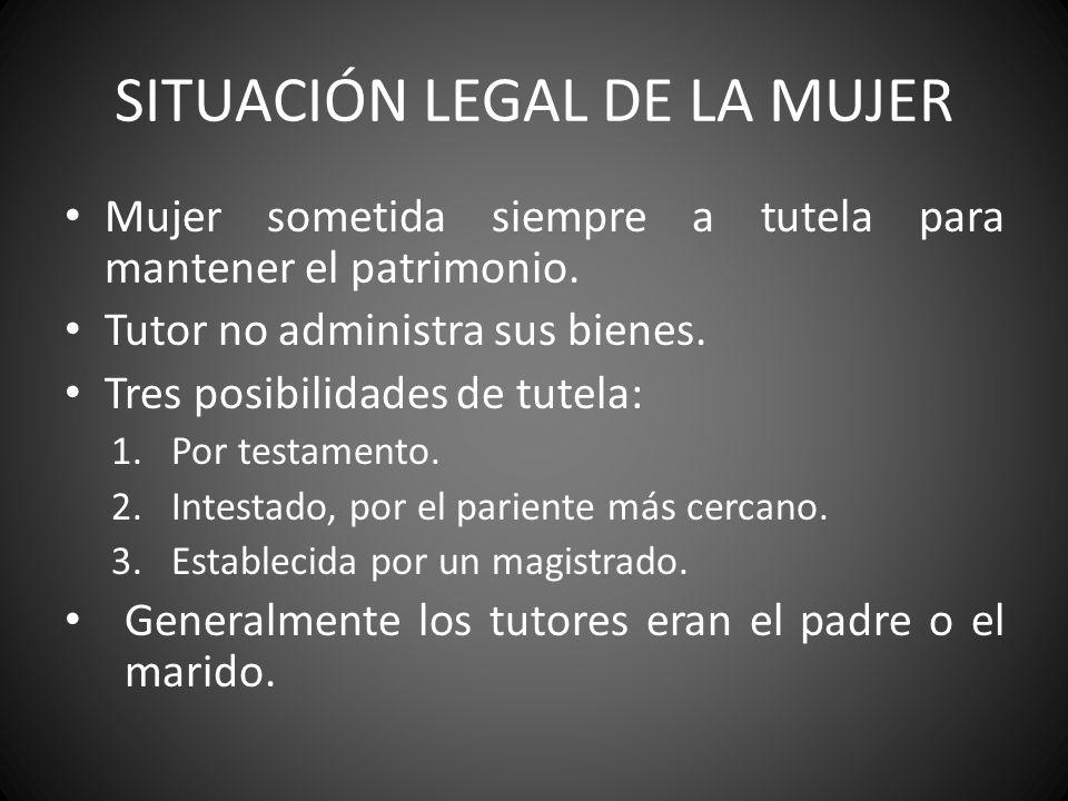 SITUACIÓN LEGAL DE LA MUJER Mujer sometida siempre a tutela para mantener el patrimonio. Tutor no administra sus bienes. Tres posibilidades de tutela: