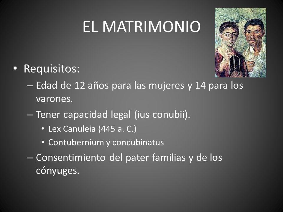 EL MATRIMONIO Requisitos: – Edad de 12 años para las mujeres y 14 para los varones. – Tener capacidad legal (ius conubii). Lex Canuleia (445 a. C.) Co