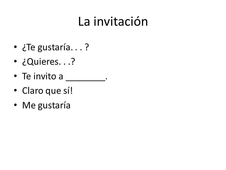 La invitación ¿Te gustaría... ¿Quieres... Te invito a ________. Claro que sí! Me gustaría