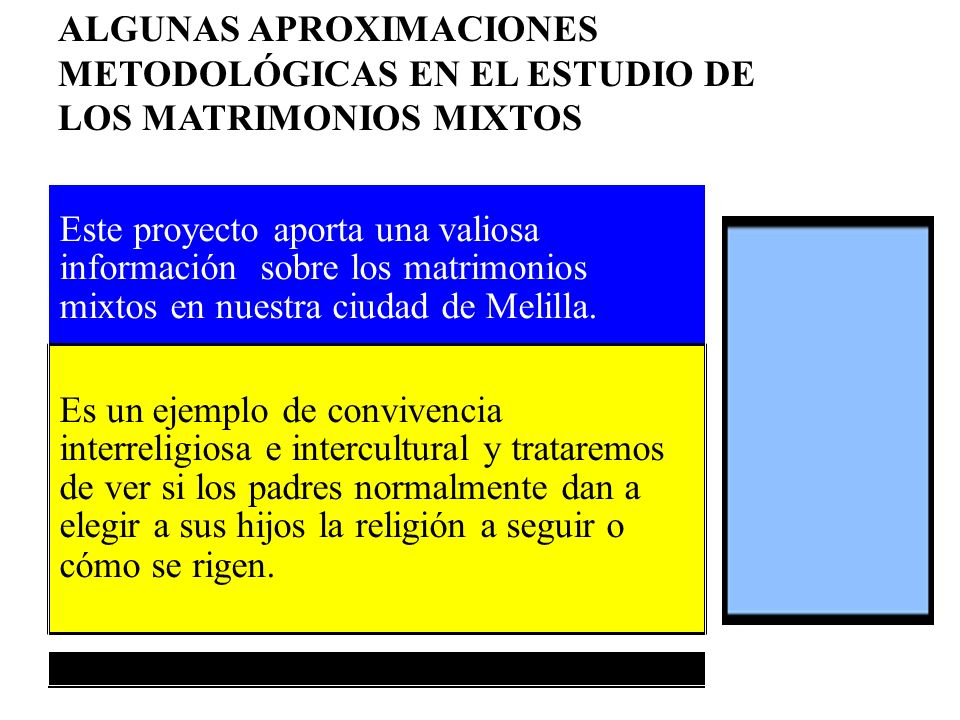 ALGUNAS APROXIMACIONES METODOLÓGICAS EN EL ESTUDIO DE LOS MATRIMONIOS MIXTOS Este proyecto aporta una valiosa información sobre los matrimonios mixtos en nuestra ciudad de Melilla.