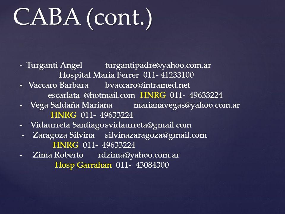 CABA (cont.) - Turganti Angelturgantipadre@yahoo.com.ar Hospital Maria Ferrer 011- 41233100 - Vaccaro Barbarabvaccaro@intramed.net escarlata_@hotmail.com HNRG 011- 49633224 -Vega Saldaña Marianamarianavegas@yahoo.com.ar HNRG 011- 49633224 - Vidaurreta Santiagosvidaurreta@gmail.com - Zaragoza Silvinasilvinazaragoza@gmail.com HNRG 011- 49633224 - Zima Roberto rdzima@yahoo.com.ar Hosp Garrahan 011- 43084300