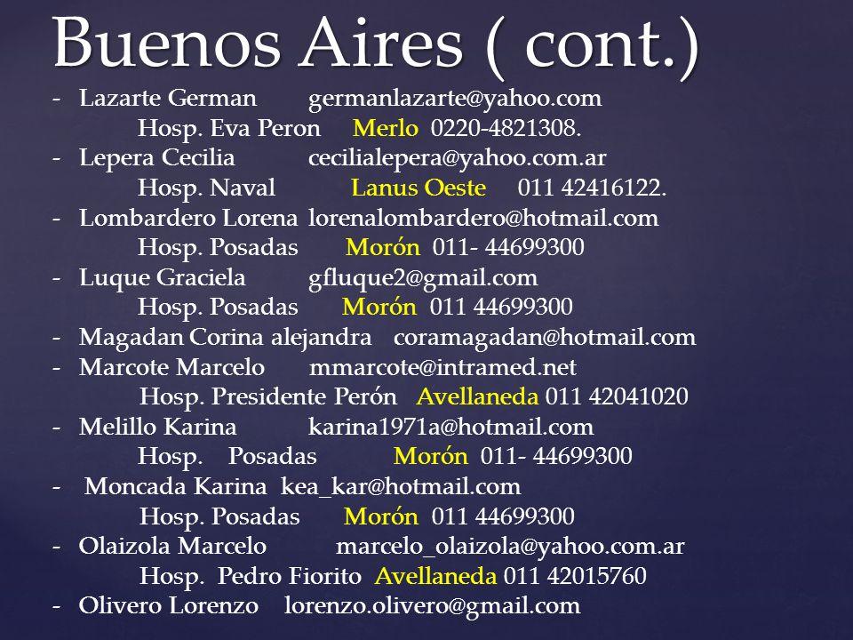 Buenos Aires ( cont.) -Lazarte Germangermanlazarte@yahoo.com Hosp.