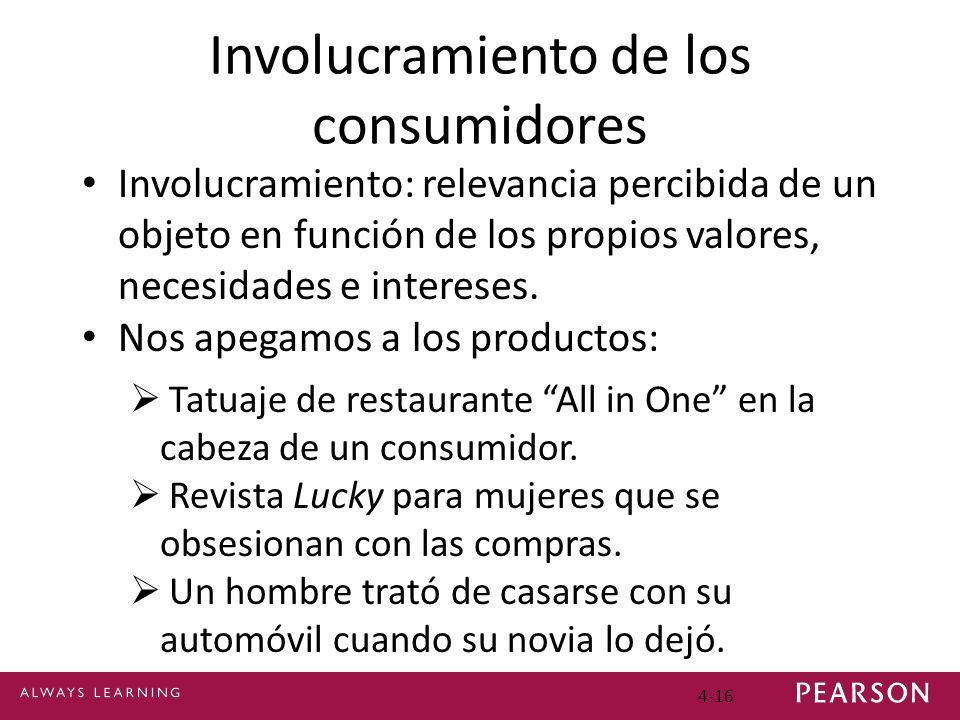 4-16 Involucramiento de los consumidores Involucramiento: relevancia percibida de un objeto en función de los propios valores, necesidades e intereses