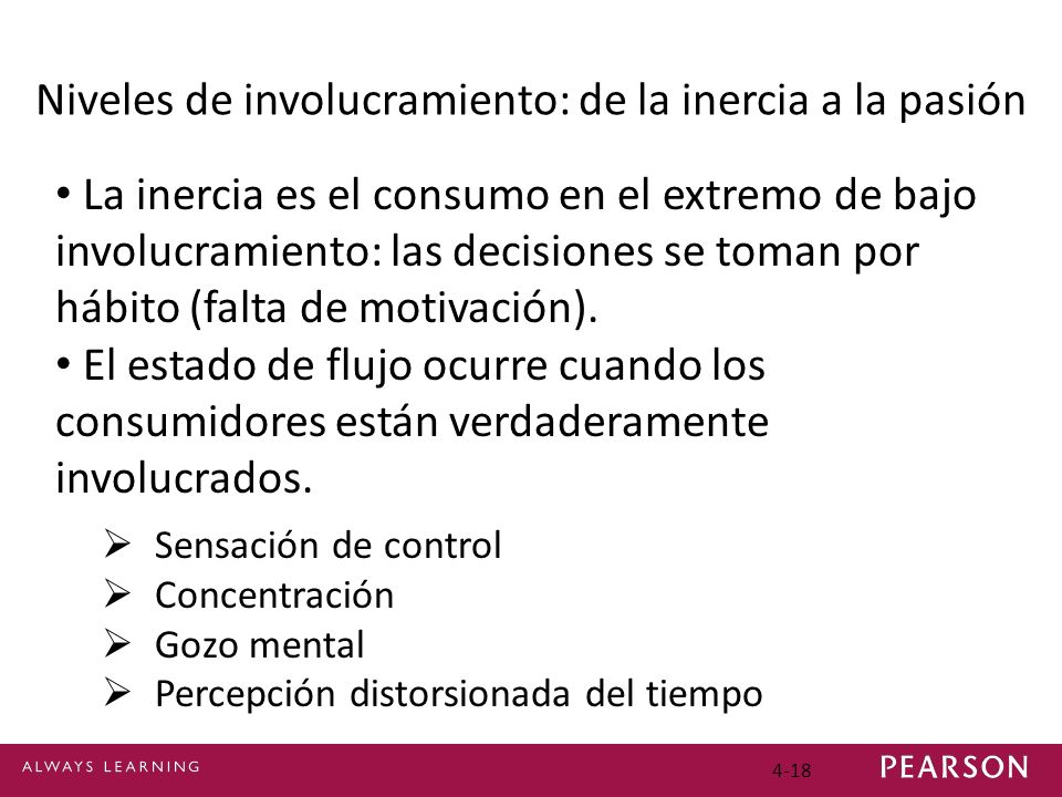 4-18 Niveles de involucramiento: de la inercia a la pasión La inercia es el consumo en el extremo de bajo involucramiento: las decisiones se toman por