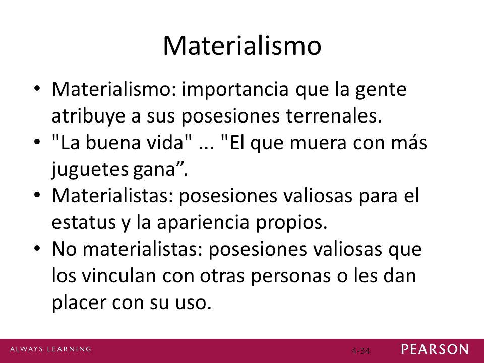 4-34 Materialismo Materialismo: importancia que la gente atribuye a sus posesiones terrenales.