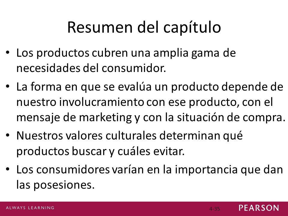 4-35 Resumen del capítulo Los productos cubren una amplia gama de necesidades del consumidor. La forma en que se evalúa un producto depende de nuestro