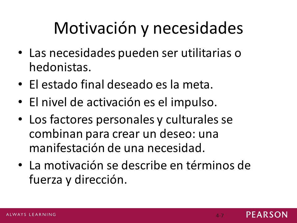 4-7 Motivación y necesidades Las necesidades pueden ser utilitarias o hedonistas. El estado final deseado es la meta. El nivel de activación es el imp