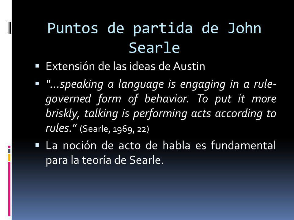 Puntos de partida de John Searle Extensión de las ideas de Austin …speaking a language is engaging in a rule- governed form of behavior. To put it mor