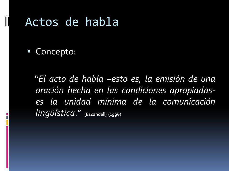Actos de habla Concepto: El acto de habla –esto es, la emisión de una oración hecha en las condiciones apropiadas- es la unidad mínima de la comunicación lingüística.