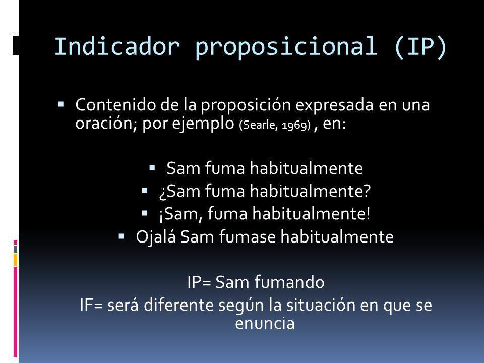Indicador proposicional (IP) Contenido de la proposición expresada en una oración; por ejemplo (Searle, 1969), en: Sam fuma habitualmente ¿Sam fuma ha