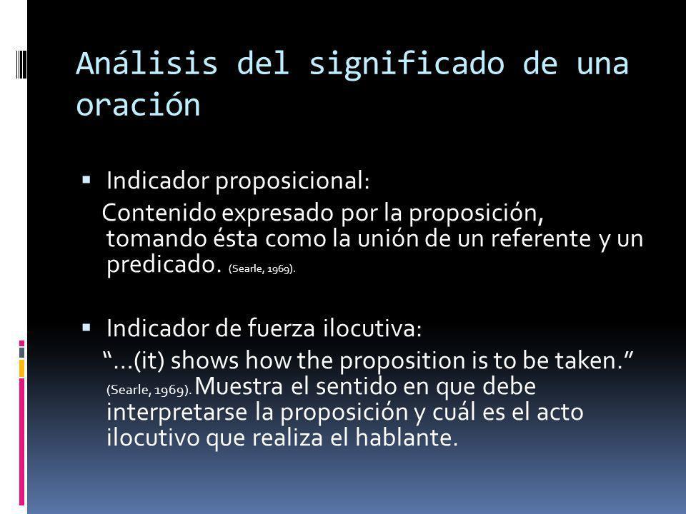 Análisis del significado de una oración Indicador proposicional: Contenido expresado por la proposición, tomando ésta como la unión de un referente y un predicado.