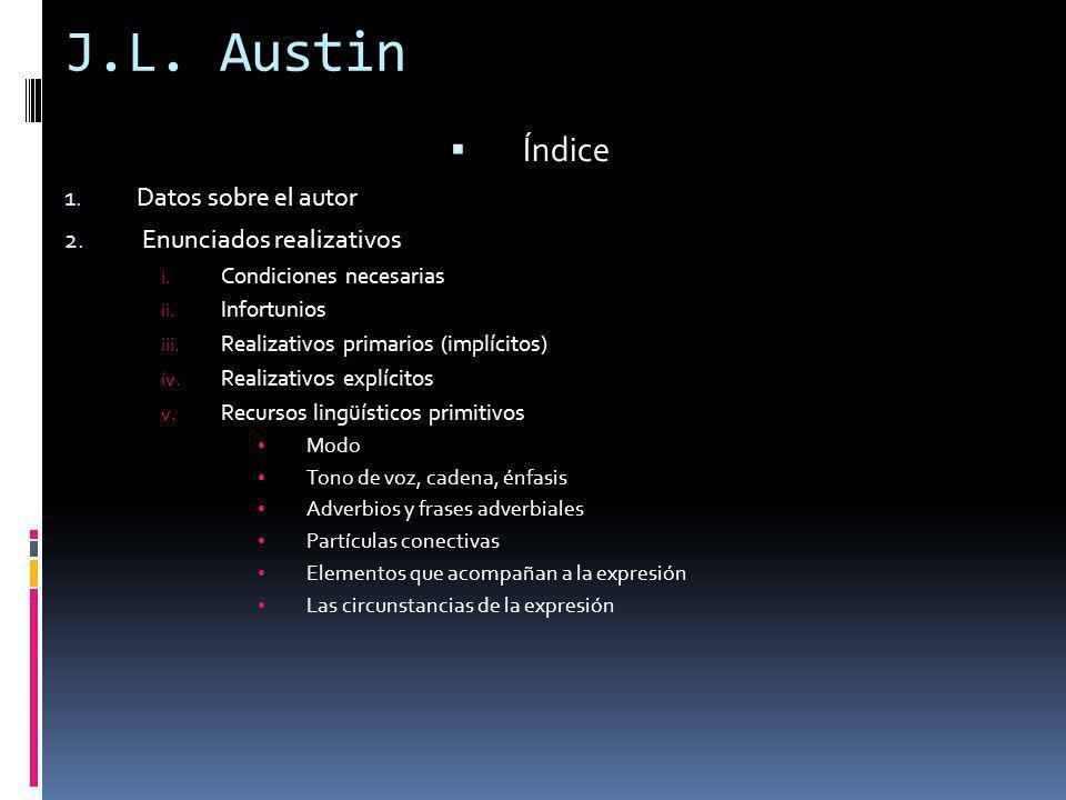 J.L. Austin Índice 1. Datos sobre el autor 2. Enunciados realizativos i. Condiciones necesarias ii. Infortunios iii. Realizativos primarios (implícito