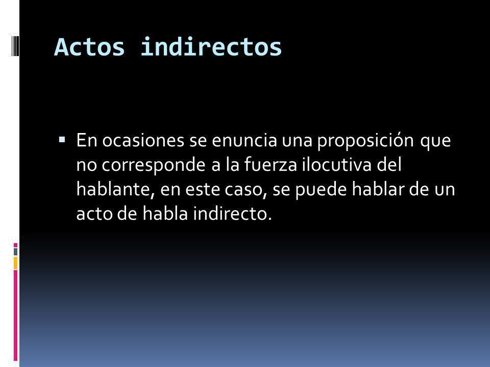 Actos indirectos En ocasiones se enuncia una proposición que no corresponde a la fuerza ilocutiva del hablante, en este caso, se puede hablar de un acto de habla indirecto.