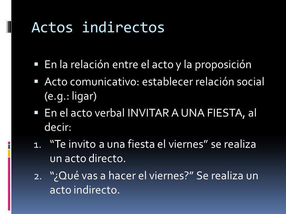 Actos indirectos En la relación entre el acto y la proposición Acto comunicativo: establecer relación social (e.g.: ligar) En el acto verbal INVITAR A UNA FIESTA, al decir: 1.
